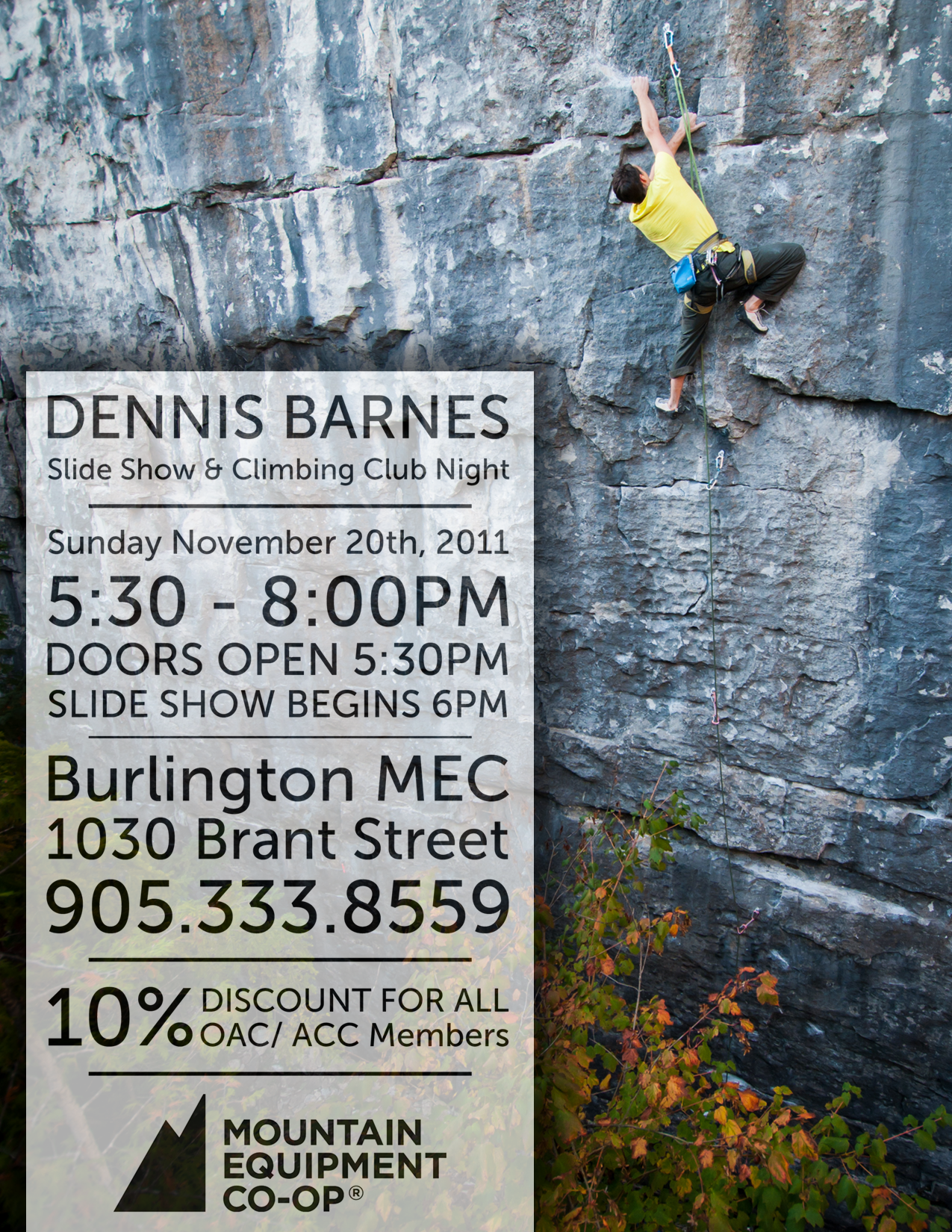 10% off at MEC Burlington on Nov 20th + Dennis Barnes slide show!