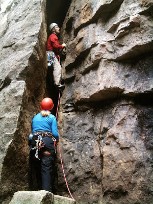 Sean Russell leads the bold, 'Mad River Crack' 5.7 at Devils Glen.